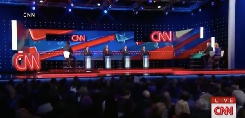 The latest Republican debate, aired on CNN on Thursday. Credit: YouTube screenshot.