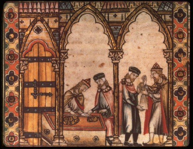 An illuminated manuscript of Jewish moneylenders. Credit: Wikimedia Commons.