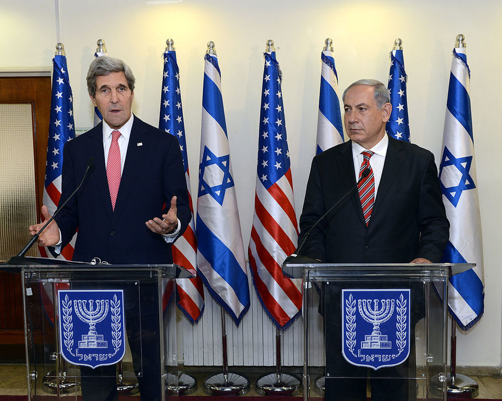 U.S. Secretary of State John Kerry with Israeli Prime Minister Benjamin Netanyahu in Jerusalem. Credit:Wikimedia Commons.