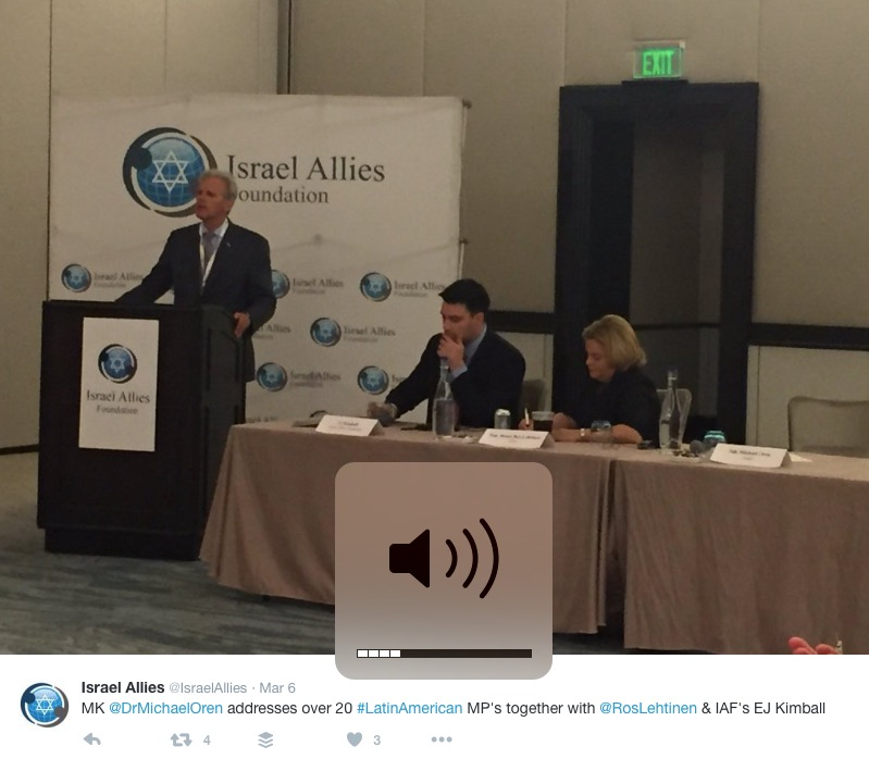 Former Israeli ambassador to the U.S. and current MK Michael Oren (Kulanu) gives a keynote address at the Israel Allies Foundation's Second Annual Latin America Summit on Israel, which was recently held in Miami. Credit: Screenshot from Twitter.