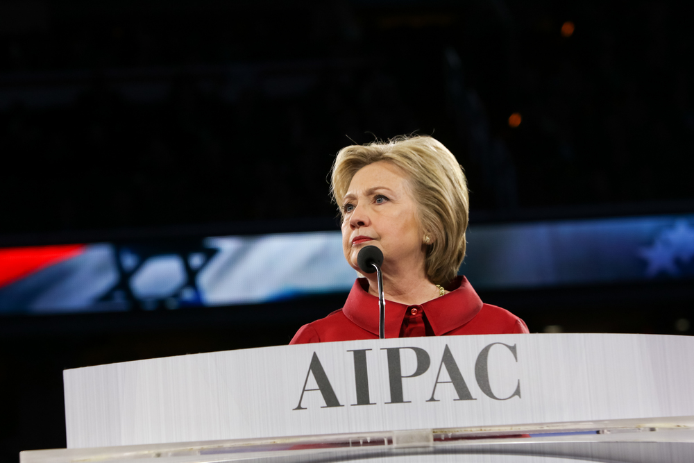 Click photo to download. Caption: Hillary Clinton during her speech at the 2016 AIPAC conference on Monday. Credit: AIPAC.