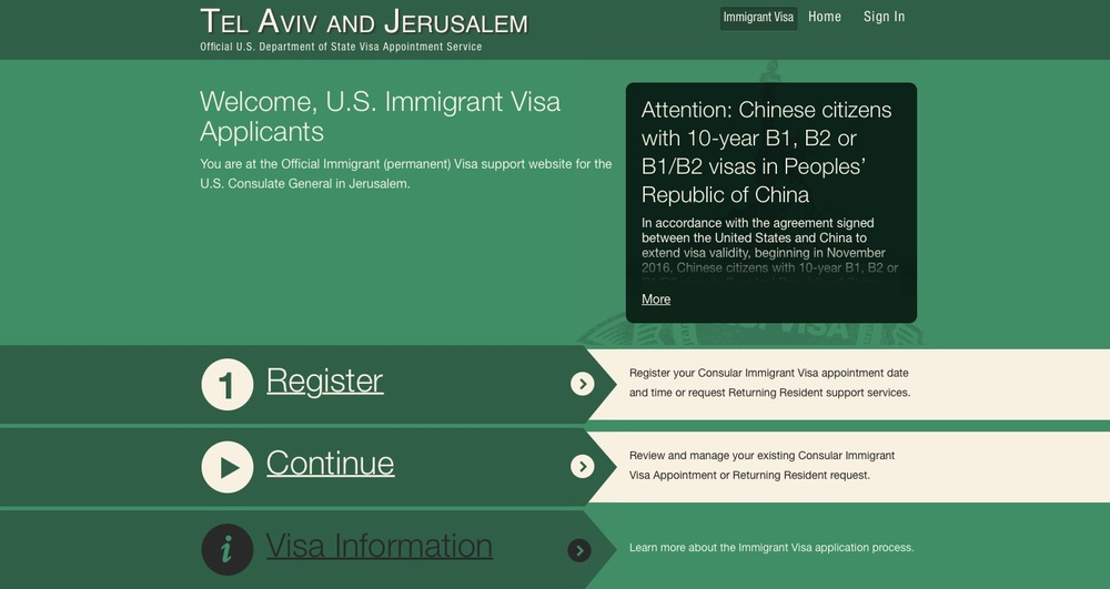 Clicking on either Jerusalem or Tel Aviv on the website, the user is taken to a page that is again labeled only by the names of the cities rather than Israel. Credit: Screenshot from https://ais.usvisa-info.com.
