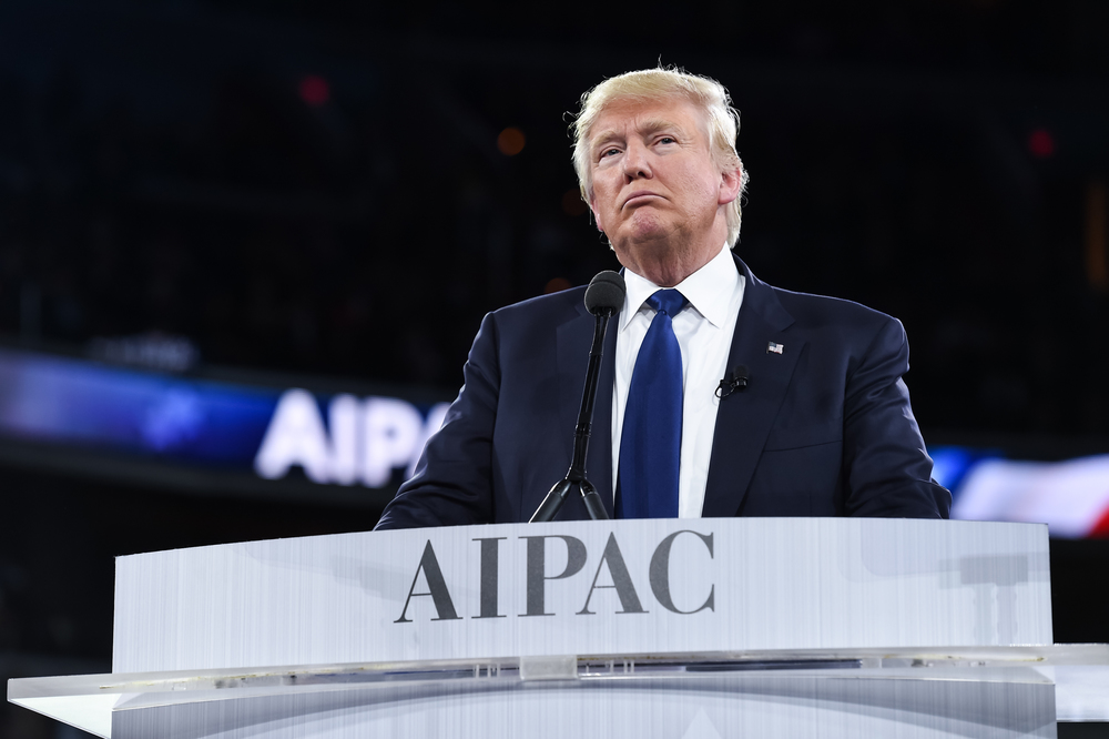 Click photo to download. Caption: Donald Trump during his speech at the 2016 AIPAC conference. Credit: AIPAC.