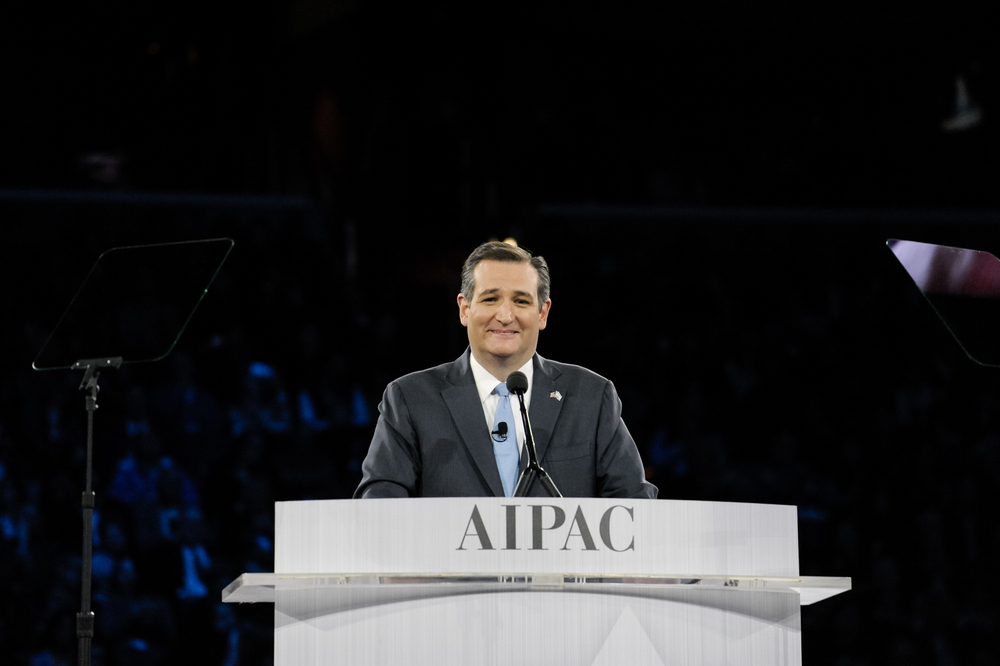 Click photo to download. Caption: Sen. Ted Cruz during his speech at the 2016 AIPAC conference. Credit: AIPAC.