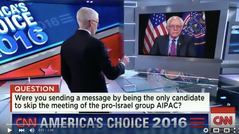 "Sen. Benie Sanders (I-Vt.), the only presidential candidate not to speak at the AIPAC conference, speaks to CNN's Anderson Cooper during Monday night's ""Final Five"" interviews. Credit: Screenshot from YouTube."