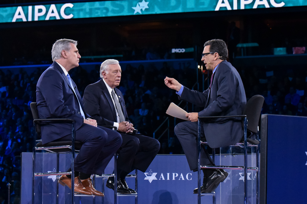 Click photo to download. Caption: U.S. Reps. Kevin McCarthy (R-Calif., at left) and Steny Hoyer (D-Md., in center) are interviewed on stage at the 2016 AIPAC Policy Conference. Credit: AIPAC.
