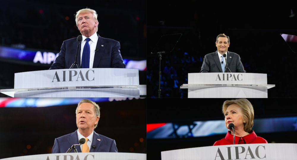 Click photo to download. Caption: The presidential candidates who spoke at the recent AIPAC conference, including Donald Trump (top left), Ted Cruz (top right), John Kasich (bottom left), and Hillary Clinton (bottom right). Credit: AIPAC.