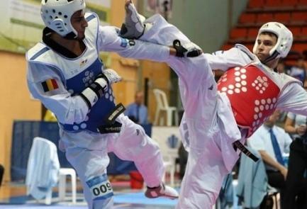 Mourad Laachraoui (left) during a taekwondo match in Israel. Credit: Israel Taekwondo Federation.