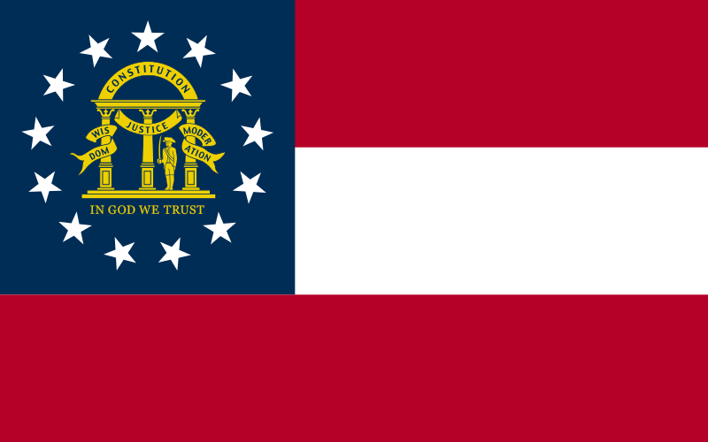The state flag of Georgia. Credit: Wikimedia Commons.