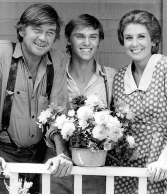 "Click photo to download. Caption: John, John-Boy, and Olivia Walton of ""The Waltons."" Credit: CBS Television via Wikimedia Commons."