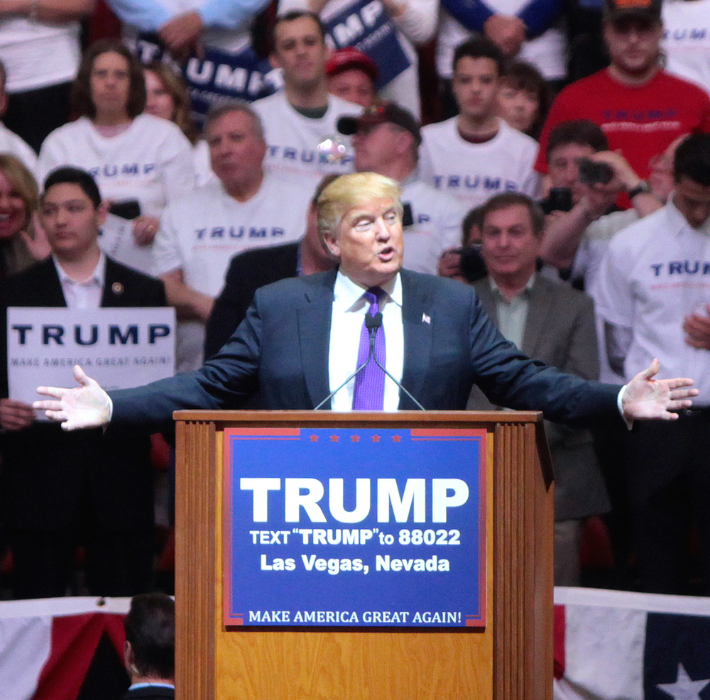 Click photo to download. Caption: Donald Trump speaks in Las Vegas. Credit: Gage Skidmore via Wikimedia Commons.