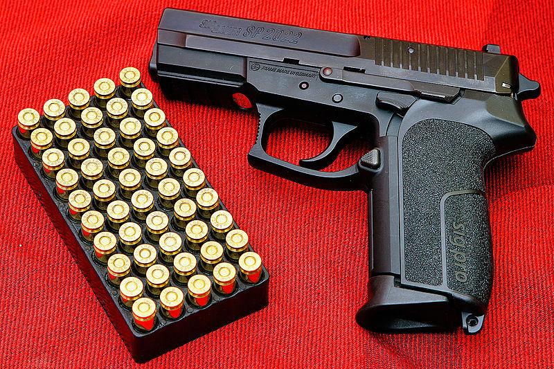 A semi-automatic pistol. Credit: Augustas Didžgalvis via Wikimedia Commons.