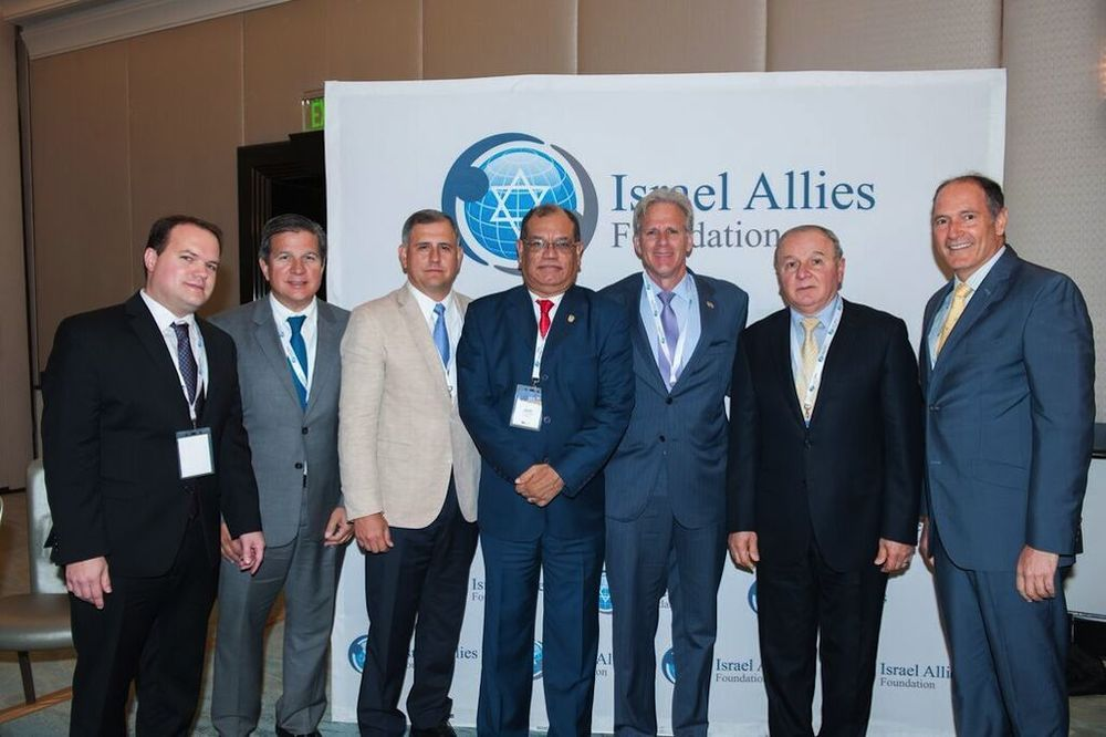 Click photo to download. Caption: From left to right, pictured at the recent Second Annual Latin America Summit on Israel in Miami: Leopoldo Martinez, the Israel Allies Foundation's Latin America director; Panama Congressman Jose Luis Varela; Panama Congressman Juan Carlos Arango; Panama Congressman Javier Ortega, Member of Knesset Michael Oren; Secretary General of the Latin American Parliament and Panama Congressman Dr. Elias Castillo; and Dr. Ezra Cohen, executive director of the Jewish community of Panama. Credit: Israel Allies Foundation.