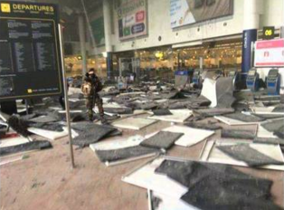 The aftermath of the bombing at the Brussels airport on March 22. Credit: YouTube screenshot.