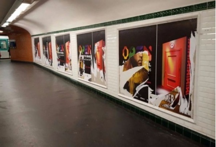 "The vandalized Paris Metro posters inviting commuters to the Louvre Museum's ""Open a Door to Israel."" Credit: Israeli Foreign Ministry."