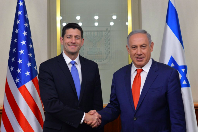 U.S. House Speaker Paul Ryan (left) meets with Israeli Prime Minister Benjamin Netanyahu on Monday. Credit: PM of Israel via Twitter.