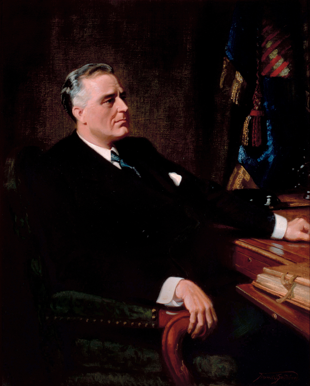 Click photo to download. Caption: A portrait of president Franklin D. Roosevelt, whose administration oversaw America's response to the Holocaust. Credit: Franklin O. Salisbury via Wikimedia Commons.