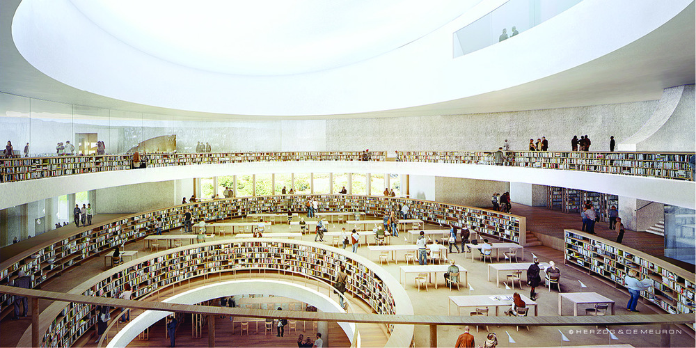 Click photo to download. Caption: A rendering of the inside of the forthcoming new National Library of Israel facility. Credit: Courtesy National Library of Israel.