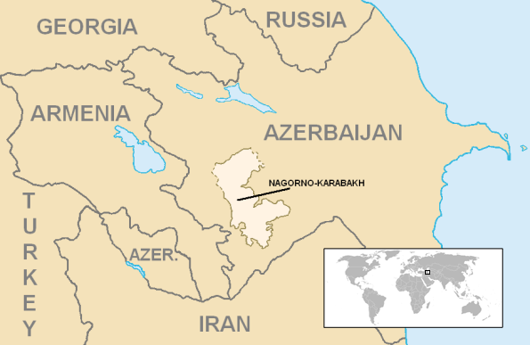 The disputed Nagorno-Karabakh area. Credit: Wikimedia Commons.