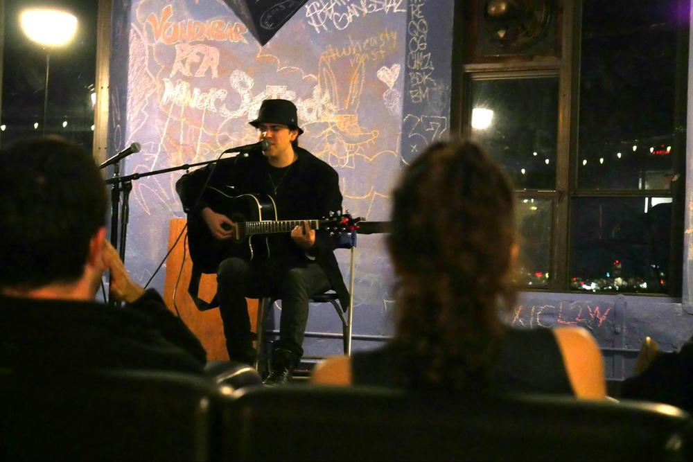 Gilad Segev performs at Brandeis University on March 29. Credit: CAMERA on Campus.