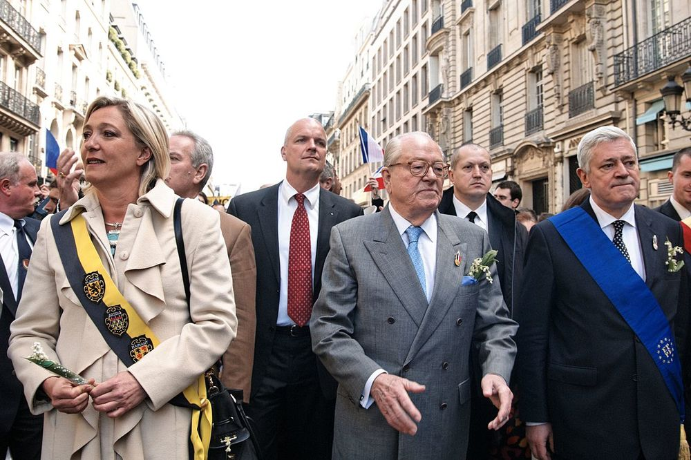 Marine Le Pen, Jean-Marie Le Pen, and National Front party member Bruno Gollnisch in 2010. Credit: Marie-Lan Nguyen via Wikimedia Commons.