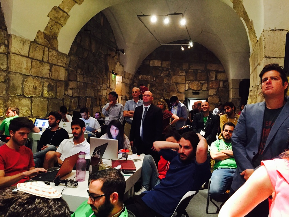 "Click photo to download. Caption: The April 7-8 ""hackathon"" in Crusaders Hall at the Tower of David Museum in Jerusalem. Credit: Maayan Jaffe-Hoffman."