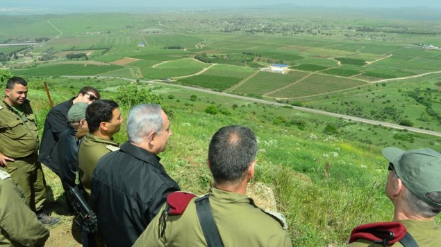 Prime Minister Benjamin Netanyahu touring the Golan Heights on Monday. Credit: Kobi Gideon/GPO.