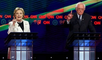 Hillary Clinton and Bernie Sanders during Thursday's Democratic debate on CNN. Credit: YouTube screenshot.