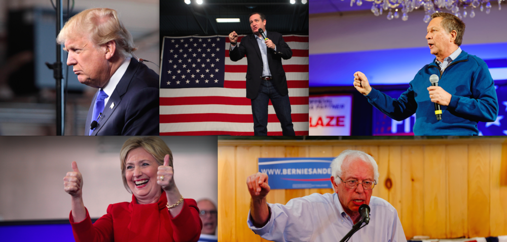Click photo to download. Caption: The remaining U.S. presidential candidates, including (top row, from left) Republicans Donald Trump,Sen. Ted Cruz (Texas), and Ohio Governor John Kasich, and Democrats (bottom row, from left)Hillary Clinton and Sen. Bernie Sanders (Vt.). Credit: Gage Skidmore and Michael Vadon via Wikimedia Commons.