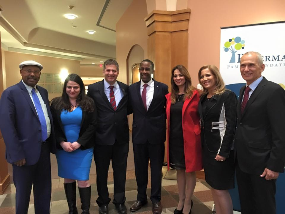 Click photo to download. Caption: Pictured at the Ruderman Family Foundation's recent Boston-area town hall event are six Israeli Members of Knesset (MKs) and a local mayor, from left to right: MK Dr. Avraham Neguise (Likud), MK Michal Biran (Zionist Union), MK Yoav Kisch (Likud), Newton (Massachusetts) Mayor Setti Warren, MK Dr. Yifat Shasha-Biton (Kulanu), MK Dr. Aliza Lavie (Yesh Atid), and MK Omer Bar-Lev (Zionist Union). Credit: Ruderman Family Foundation.