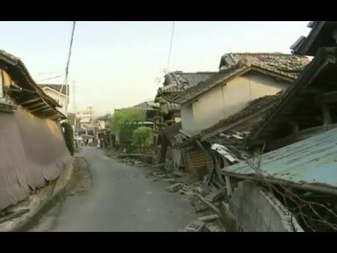 An image of the destruction leveled by two major earthquakes in Japan since Thursday. Credit: YouTube screenshot.