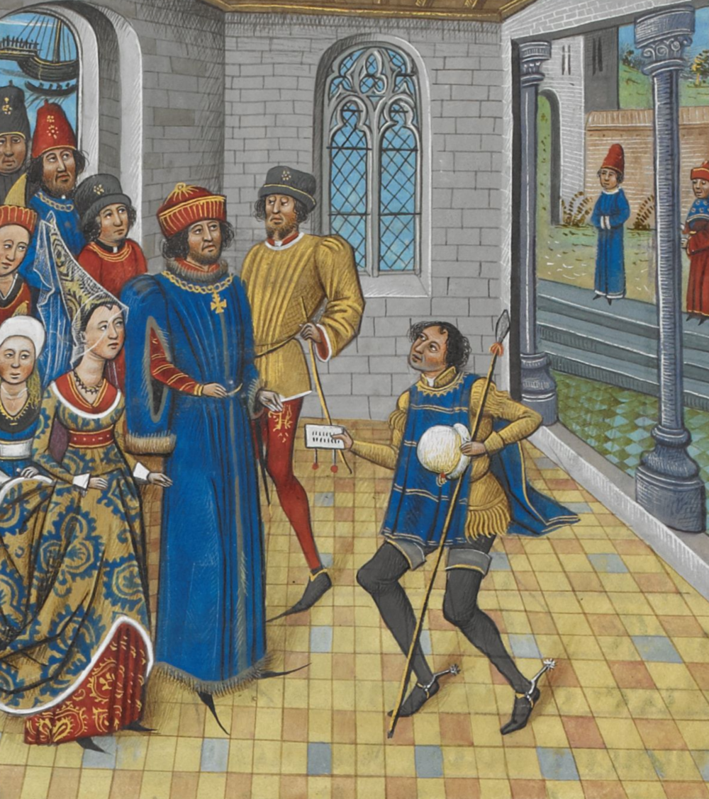 Painting of Hillary Clinton and Donald Trump's common ancestor John of Gaunt, First Duke of Lancaster, arriving at Galicia and receiving a letter from the King of Portugal John I. Credit: Chronique d' Angleterre (Volume III)/ late 15th century via Wikimedia Commons.