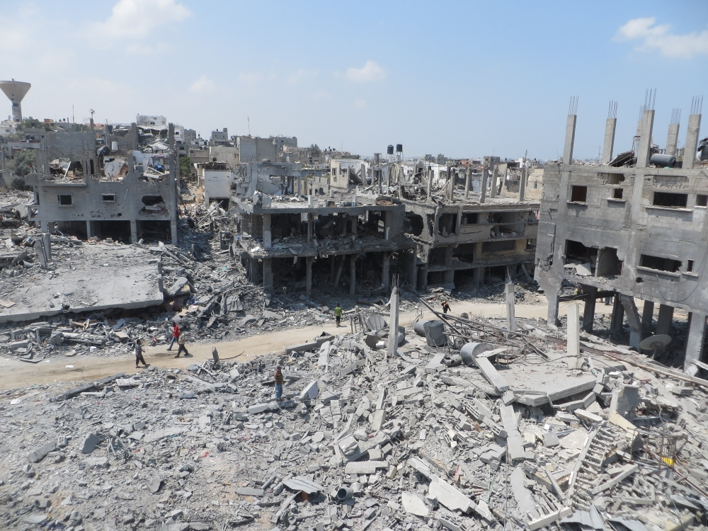A building destroyed in Gaza during the 2014 war between Hamas and Israel. Credit: Wikimedia Commons.