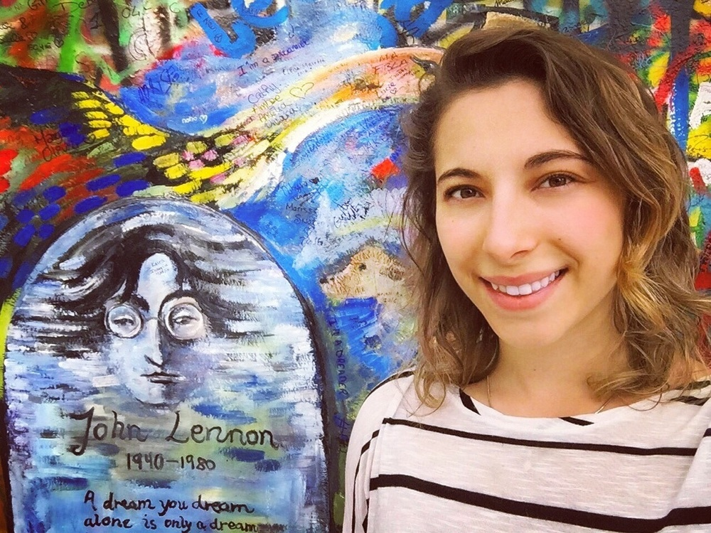 Click photo to download. Caption: Eliana Rudee at the Lennon Wall in Prague. Credit: Courtesy Eliana Rudee.