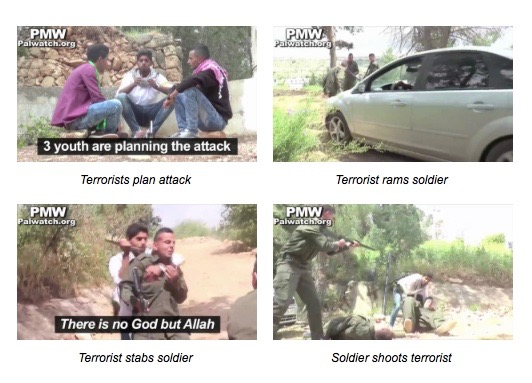 Screenshots from the Palestinian Fatah video showing the reenactment of a Palestinian attack on Israeli soldiers. Credit: Palestinian Media Watch.