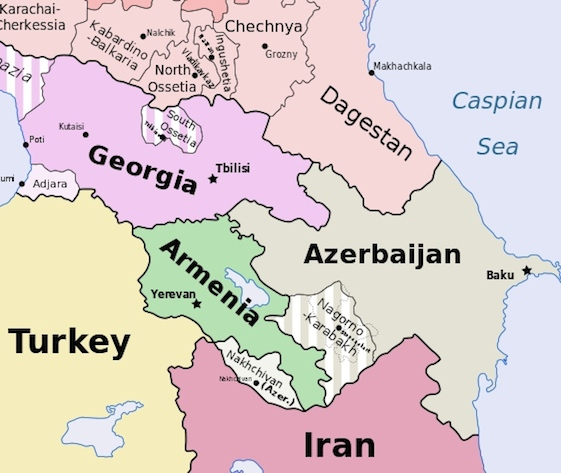 Click photo to download. Caption: A Caucasus region map that includes Nagorno-Karabakh, between Armenian and Azerbaijan. Credit: Wikimedia Commons.