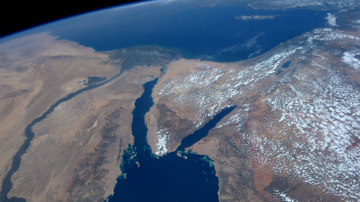 "NASA astronaut Jeff Williams wrote that he was ""fascinated"" by this view of Israel from outer space. Credit: Jeff Williams/NASA."