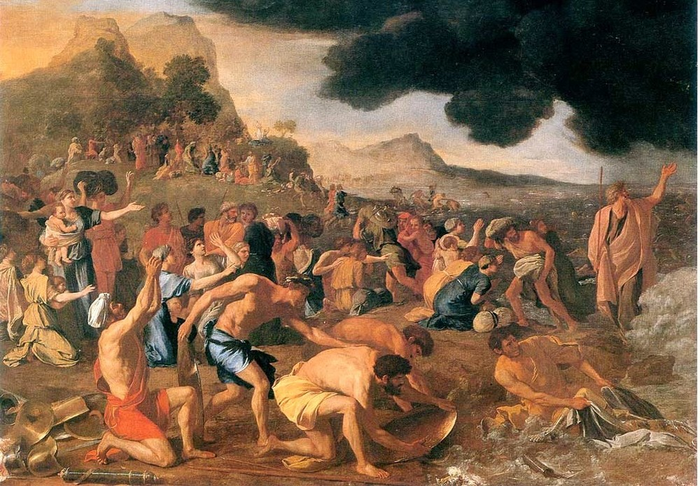 "Click photo to download. Caption: ""The Crossing of the Red Sea,"" a painting by Nicholas Poussin. Credit: Nicholas Poussin via Wikimedia Commons."