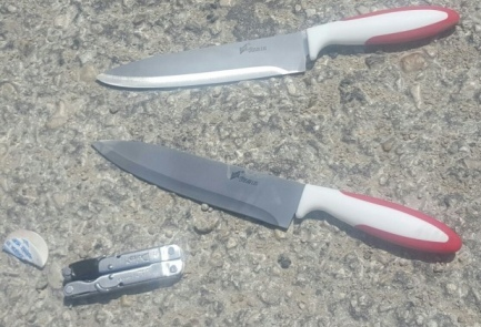 The knives of two Palestinian terrorists who were shot dead north of Jerusalem on Wednesday. Credit: Israel Police.