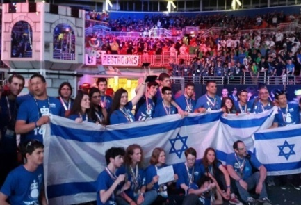 The Israeli team from Binyamina at the FIRST Robotics Competition in St. Louis. Credit: Rothschild-Hashomron High School.