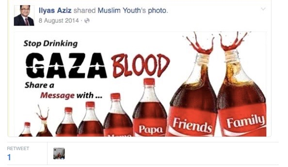 The tweet by Nottingham City Councilor Ilyas Aziz promoting to the ancient anti-Semitic blood libel belief in the context of the Israeli-Palestinian conflict. Credit: Twitter.