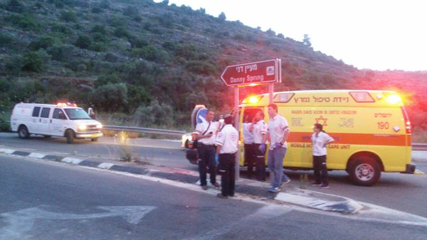 Magen David Adom paramedics on the scene of the car ramming terror attack on Tuesday evening. Credit: Magen David Adom.
