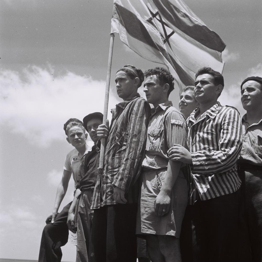 Survivors of the Buchenwald concentration camp arrive in Israel in 1945. Credit: Wikimedia Commons.