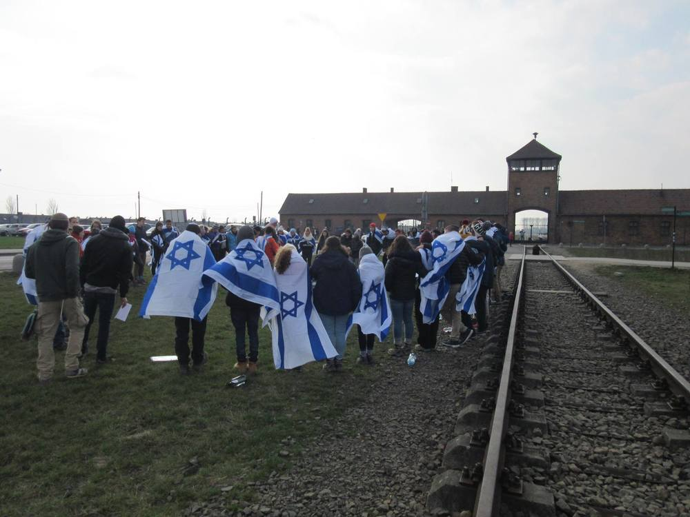 Students at the Alexander Muss High School in Israel visit Auschwitz. Credit: Courtesy Jewish National Fund.