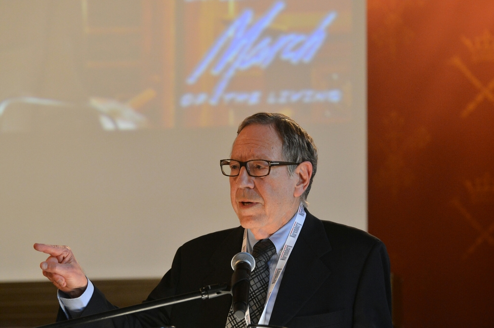 "Former Canadian justice minister and attorney general Irwin Cotler speaks at ""The Double Entendre of Nuremberg"" symposium on May 4 at Jagiellonian University in Kraków, Poland. Credit: Yossi Zeliger."