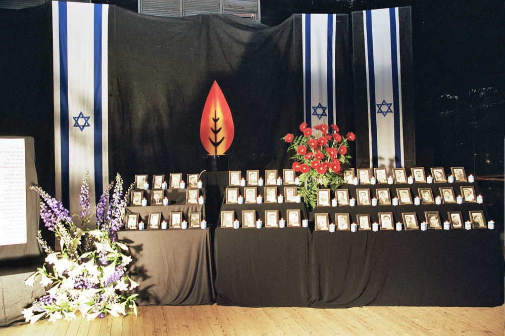 A stage is set for a Yom Hazikaron ceremony in Israel. Credit: PikiWiki Israel.