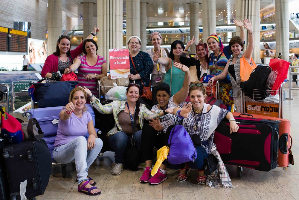 Visiting Jewish women from Cuba are pictured upon their arrival at Israel's Ben Gurion Airport in Tel Aviv on Tuesday. Photo credit: Michael Alvarez-Pereyre.