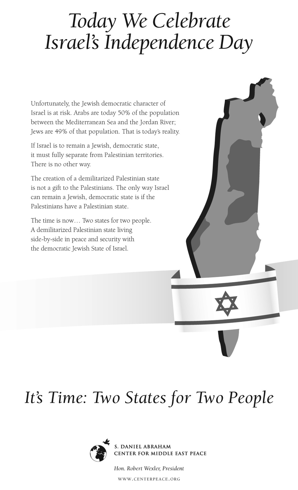Click photo to download. Caption: The S. Daniel Abraham Center's Israeli Independence Day ad in the New York Times. Credit: S. Daniel Abraham Center.