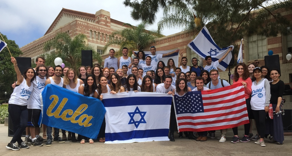 Click photo to download. Caption: Participants of UCLA's Israel Independence Week on campus. Credit: Shani Shahmoon.