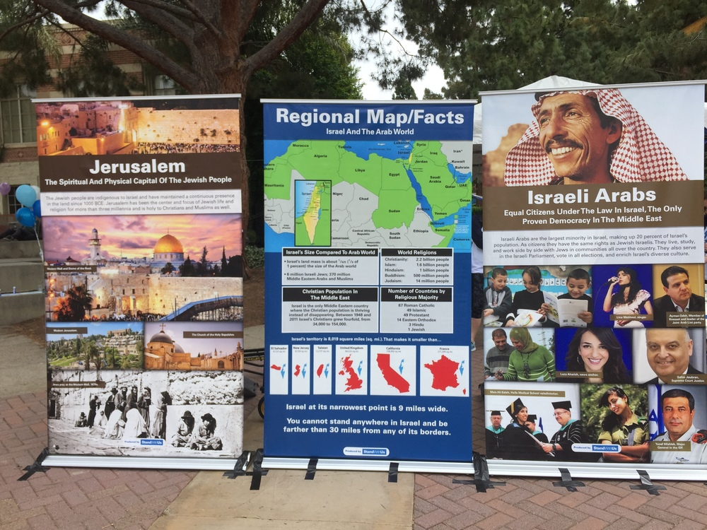 Click photo to download. Caption: The poster display on campus for UCLA's Israel Independence Week. Credit: Shani Shahmoon.